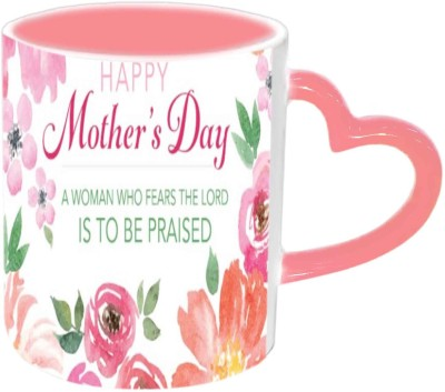 Jiya Creation1 Mother,s Day Special Pink Heart Handle Ceramic Mug