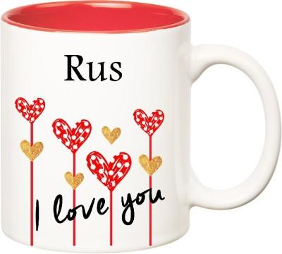 Huppme I Love You Rus Inner Red  (350 ml) Ceramic Mug