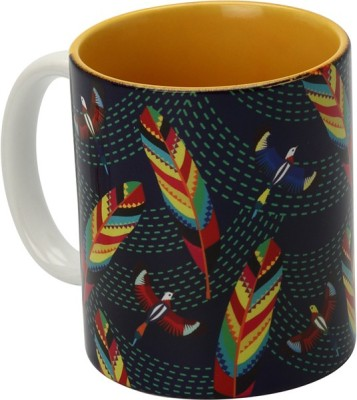 The Elephant Company Tropical Birds & Feathers Ceramic Mug
