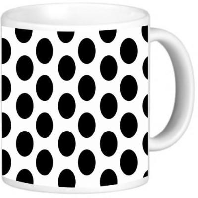 Rikki Knight LLC Knight Photo Quality Ceramic Coffee , 11 oz, Black on White Polka Dots Ceramic Mug