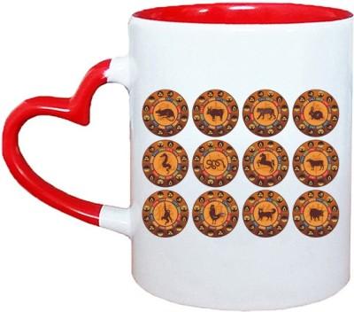 Muggies Magic Horoscope logo new design Red Heart Handle 11 Oz Ceramic Mug(325 ml)
