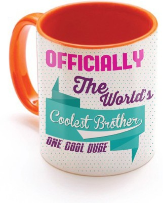 SKY TRENDS GIFT Officially The World's Coolest Brother One Cool Dude With Multicolor Best Gifts For Birthday And Anniversary Inner Color Orange Ceramic Mug