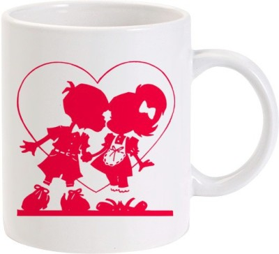 Lolprint Kissing Kids Love Heart Ceramic Mug