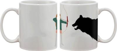 Artifa Girl Shooting Wolf Porcelain, Ceramic Mug