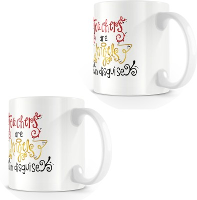 posterchacha Teachers Are Angels In Disguise White Tea And Coffee To Gift To Teacher And Loved One Bone China Mug