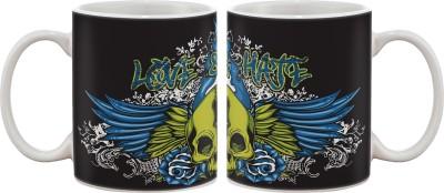 Artifa Love And Hate Skull Porcelain, Ceramic Mug