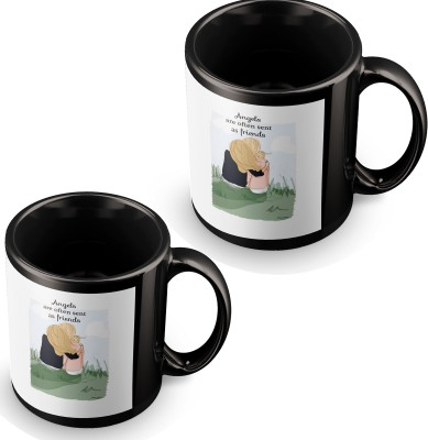 posterchacha Angels Are Friends Black Tea And Coffee for Gift Use For Friend Ceramic Mug