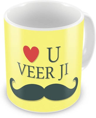 Kiran Udyog Love u Veerji with Mustache Print Cute Coffee  548 Ceramic Mug