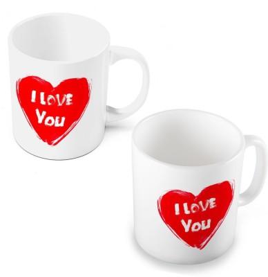 Indian Gift Emporium Elegant I Love You Heart Printed Coffee s Pair 504 Ceramic Mug