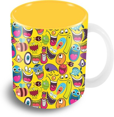 Thecrazyme Monsters Faces (Yellow) Pattern Coffee Ceramic Mug