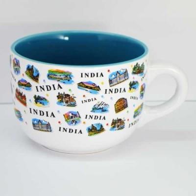 India Souvenirs White Soup Bowl with India Expression Design Porcelain Mug