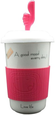 Just For Decor Pink Fun With Grip & Hand Lid Ceramic Mug