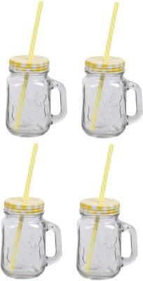 CreativesKart Checks Mason Jar Yellow (Set of 4) Glass Mug