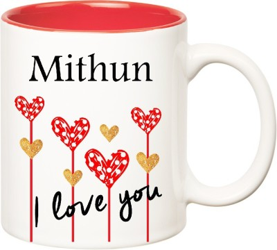 Huppme I Love You Mithun Inner Red  (350 ml) Ceramic Mug