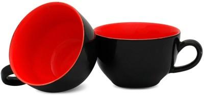 Caffeine Black and Red Elegant Glossy Cup (4.5d, 3h) Ceramic Mug