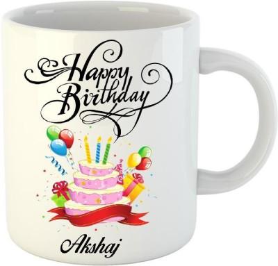 HuppmeGift Happy Birthday Akshaj White  (350 ml) Ceramic Mug