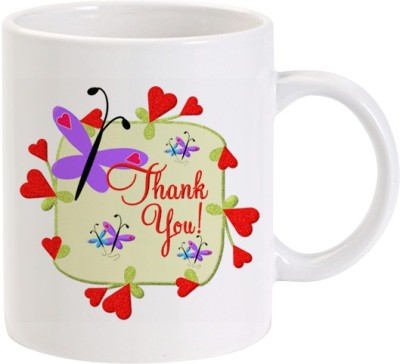 Lolprint Butterfly With Hearts Thank You Ceramic Mug