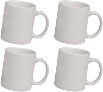 Snapgalaxy White Combo of 4 pcs Ceramic Mug