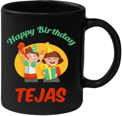 Huppme Happy Birthday Tejas Black  (350 ml) Ceramic Mug