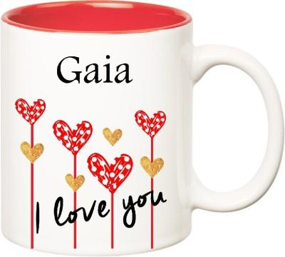 Huppme I Love You Gaia Inner Red  (350 ml) Ceramic Mug