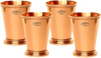 "Indian Craft Villa Indian Craft Villa Handmade Set Of 4 Mint Julep Cup - 100% Solid Pure Copper 400 ML- 13oz Beaded 4.5"" Tall - Traveller"