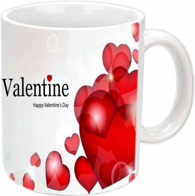 Jiya Creation Red Hearts Valentine White  Ceramic Mug