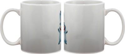 Artifa Blue Cartoon Smiling Porcelain, Ceramic Mug