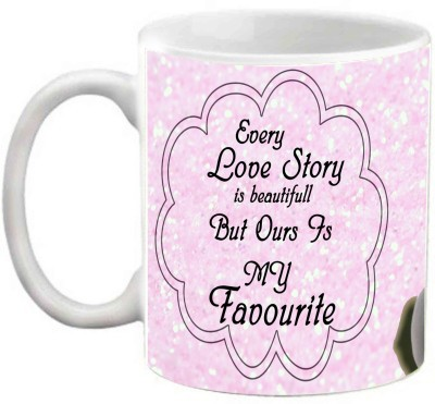 EFW PENGUIN EVERY LOVE STORY IS BEAUTIFUL PINK THEME PRINTED Ceramic Mug