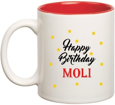 Huppme Happy Birthday Moli Inner Red Ceramic  (350ml) Ceramic Mug