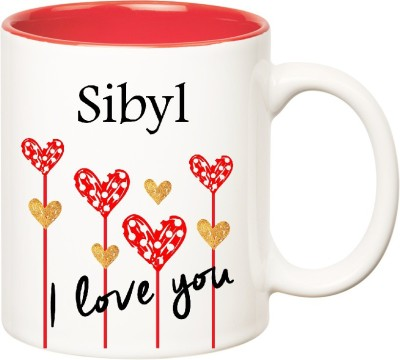 Huppme I Love You Sibyl Inner Red  (350 ml) Ceramic Mug