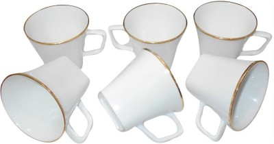 Classique White Gold Rim 6pc Bone China Mug