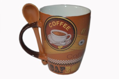 MGPLifestyle Top Oval Coffee  with Brown Spoon Ceramic Mug