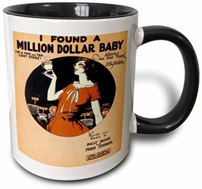 3dRose I Found A Million Dollar Baby in A Five and Ten Cent Store Novelty Fox Trot Song Two Tone Black , 11 oz, Black/White Ceramic Mug