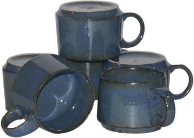 Inhomez Blue Stoneware Studio Coffee  Ceramic Mug