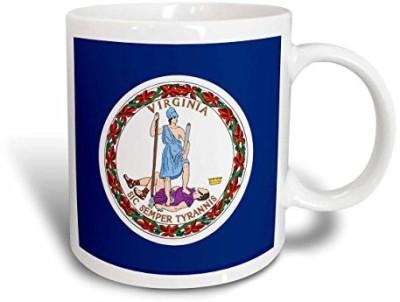 3dRose mug_55347_2 State Flag of Virginia (Pd-Us), Ceramic , 15-Ounce Ceramic Mug