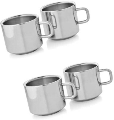 Dynore Set of 4 Double Wall Tea Cups Stainless Steel Mug