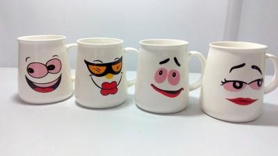 Dayinternational Different Faces Cup Tumblers Set of Four Ceramic Mug