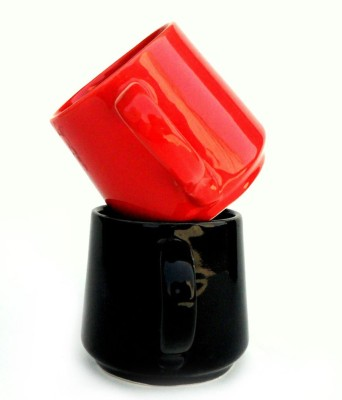 Buyer's Beach Red & Black Tumbler Shaped mugs Set of 2 Ceramic Mug