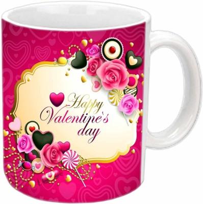 Jiya Creation Valentine Roses White  Ceramic Mug
