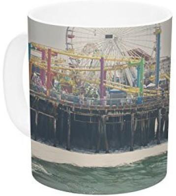 Kess InHouse InHouse Laura Evans The Pier at Santa Monica Coastal Teal Ceramic Coffee , 11 oz, Multicolor Ceramic Mug