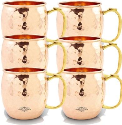Indian Craft Villa IndianCraftVilla Handmade Set Of 6 Moscow Mule Pure Solid Copper Round Hammered  with Thumb handle Volume 530 ML for Use Restaurant Ware Bar Ware Beer Hotel Ware Copper Mug
