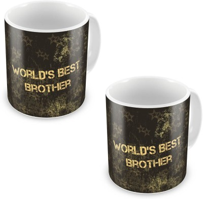 Kiran Udyog Worlds Best Brother Fancy Black Coffee  Pair 530 Ceramic Mug