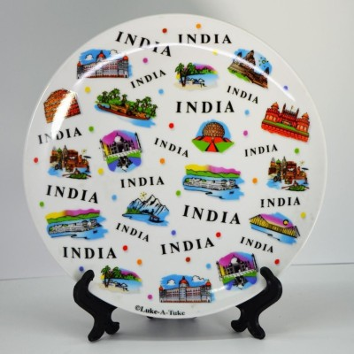 India Souvenirs 8 Inch White Plate with India Expression Design Porcelain Mug