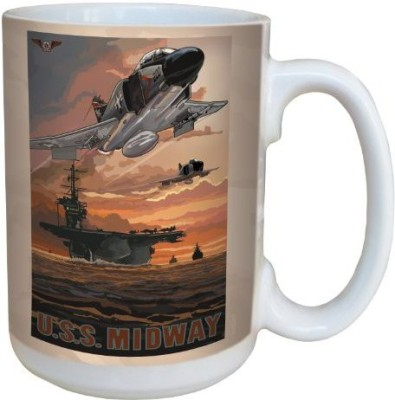 Tree-Free Greetings Greetings lm43269 Military U.S.S Midway by Paul A. Lanquist Ceramic  with Full-Sized Handle, 15-Ounce, Multicolored Ceramic Mug