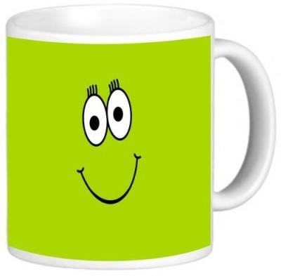 Rikki Knight LLC Knight Photo Quality Ceramic Coffee , 11 oz, Green Cheeky Smiley Face Ceramic Mug