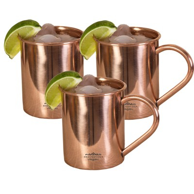 Indian Craft Villa IndianCraftVilla Handmade Set Of 3 Moscow Mule Pure Solid Copper Cup  Volume 415 ML For Use Restaurant Ware Bar Ware Beer Hotel Ware Copper Mug