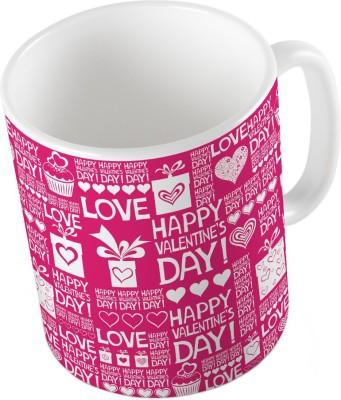 Indiangiftemporium Designer Romantic Print Pink Coffee  687 Ceramic Mug