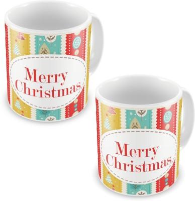 Kiran Udyog Kiran UdyogPrinted Designer Multicolor Coffe s Pair 623 Ceramic Mug