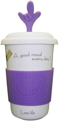Just For Decor Purple Fun With Grip & Hand Lid Ceramic Mug