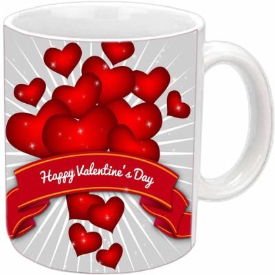 Jiya Creation Valentine Hearts Celebration White  Ceramic Mug